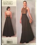 Vogue Designer Badgley Mischka V1534 Halter Back Evening Gown w Contrast... - $15.00