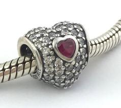 Auténtico Pandora IN My Corazón Rojo&Transparente Cuenta Charm 791168SRU... - $60.84