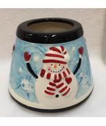 Candle Jar Shade Ceramic Topper Snowmen Christmas Holiday Decor Celebrat... - $14.84