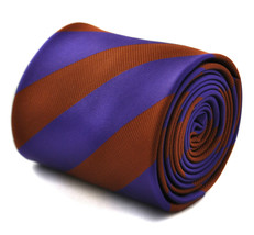 Frederick Thomas cadbury purple and chocolate brown striped mens tie FT1766