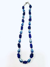 """Cobalt Blue Vintage 1970's Beautiful Carnival Glass And Silver Bead Necklace 20"""" - $26.19"""