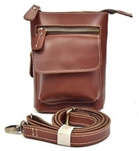 Men's Genuine Leather Waist Pack Cow Leather Messenger Bag Belt Bum Bag (red) - $38.85
