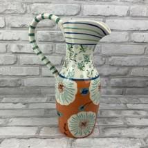 Anthropologie Jug Pitcher Vase Blue Orange Turquoise Floral Single Handle - $43.53