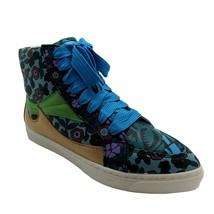 Coach 7.5 Shoes Womens Blue Floral High Top Sneaker Pointy Toe Lace Up Leather - $49.50