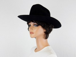 Vintage Black Felt Hat, Wide Brim, Western Style Crown, Sized Medium, Ma... - $48.95