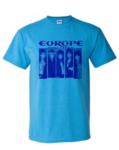 Europe T-shirt Heather Blue heavy metal rock retro 80s cotton blend graphic tee image 2