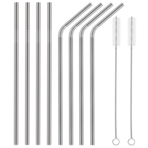 Set of 8 Stainless Steel Straws FDA-Approved Ul... - $12.99