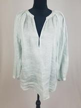 Joie women S linen long sleeve pullover blouse semi sheer - $33.66