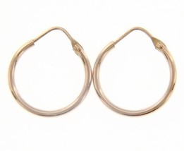 18K ROSE GOLD ROUND CIRCLE EARRINGS DIAMETER 15 MM WIDTH 1.7 MM, MADE IN ITALY image 1