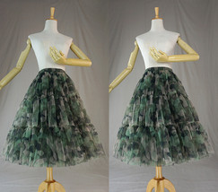 Women Knee Length Puffy Tulle Skirt Army Pattern Layered Tulle Skirt A-line Plus image 2