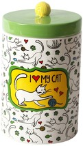 "I Love My Cat Treat Jar Green Top Yarn Ceramic New 8"" High Paw Prints He... - $24.74"
