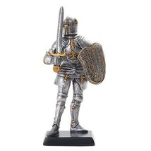 5 Inch Armored Medieval Knight with Shield and Sword Statue Figurine - £10.93 GBP