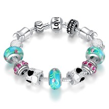 Hot Sell Silver Charm Bracelet Bangle with Murano Beads Fashion Love DIY... - $13.99