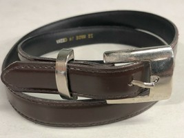 Womens Size 12 Brown Narrow Fashion Belt Silver Tone Buckle - $13.75