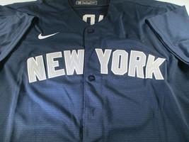 AARON JUDGE / AUTOGRAPHED NEW YORK YANKEES BLUE PRO STYLE BASEBALL JERSEY / COA image 2