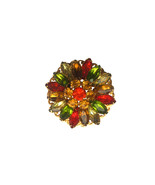 Vintage Autumn Coloru Multi Color Rhinestone Filigree Brooch Pin Thanksg... - $31.00