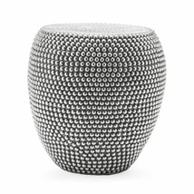 Global Accents Silver Beaded Metal Garden Stool Patio Side Table Garden ... - $139.47