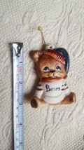 Christmas Decoration Ornament Bear Hand Painted Bisque w hat & bears swe... - $15.79