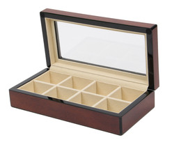 Top Quality Rosewood Glossy Finish Cufflink Case & Ring Storage Organize... - €33,66 EUR