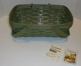 Longaberger Sage Green Medium Chore Basket & Protector 1156523 - $69.25