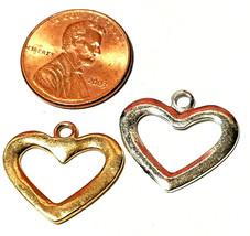OPEN HEART CHARM FINE PEWTER PENDANT CHARM - 15x14x1.5mm image 2