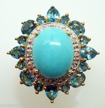 14K Gold Oval Genuine Natural Turquoise Ring with Blue Topaz (#3090) - €699,73 EUR