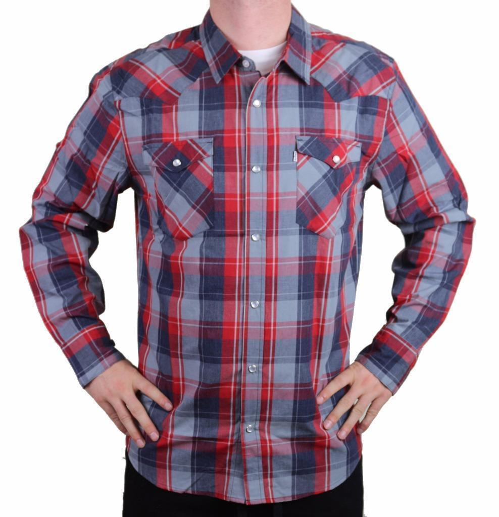 NEW LEVI MEN'S CLASSIC COTTON CASUAL BUTTON UP LONG SLEEVE PLAID 3LYLW1262-RNV