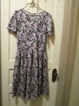 LulaRoe Amelia Purple Spring Green Floral Dress Pleated Fit n Flare  Size Large - $40.00