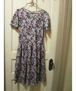 LulaRoe Amelia Purple Spring Green Floral Dress Pleated Fit n Flare  Siz... - $40.00