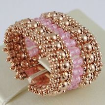 925 SILVER RING GOLD PLATED PINK, KNIT AND BALLS, PINK QUARTZ image 3