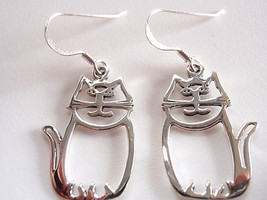Happy Cut Out Cat Earrings 925 Sterling Silver Dangle Corona Sun Jewelry - $13.85