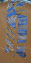 VERA Vintage Silk Scarf Tie Stripes Tan Gold & Blue - $10.62