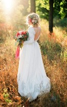 Scoop Open Back A Line Long Sleeves Sweep Train Long White Lace Wedding Dress  - $119.00
