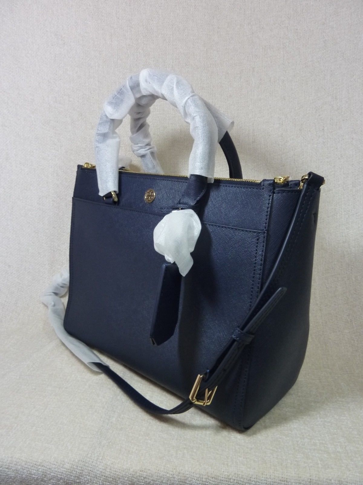 Tory Burch Navy Blue Saffiano Leather Robinson Double-Zip Tote $458 image 2