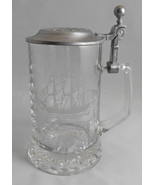 Vintage ALWE W. Germany Etched Glass Stein Grand Trunk Ship w Pewter Lid... - $12.99
