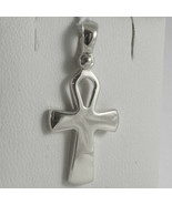 SOLID 18K WHITE GOLD CROSS, CROSS OF LIFE, ANKH, SHINY, 1.02 INCH MADE I... - £162.93 GBP