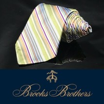 NWT Brooks Brothers 100% Silk Rainbow  Striped Multicolor Neck Tie Long - $44.16