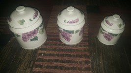 Fairfield Grape Valley Three piece Canister Set mint condition Stoneware - $24.74