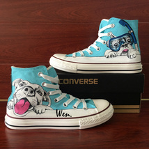 Goggle Swimming Pet Dog Hand Painted Shoes Canvas Converse Men Women Sneakers - $155.00