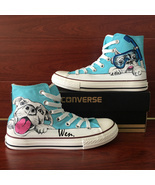Goggle Swimming Pet Dog Hand Painted Shoes Canvas Converse Men Women Sne... - £111.07 GBP