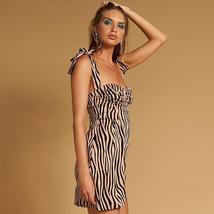 Women's Summer Fashion Zebra Stripe Print Mini Sundress image 4
