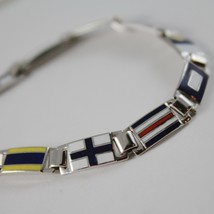 MASSIVE SOLID 18K WHITE GOLD BRACELET WITH GLAZED NAUTICAL FLAGS, MADE IN ITALY image 2