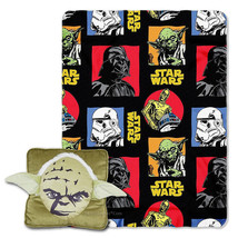 NWT Disney Star Wars Jedi Master YODA Square 3D Pillow & Fleece Throw Combo Set - $34.99