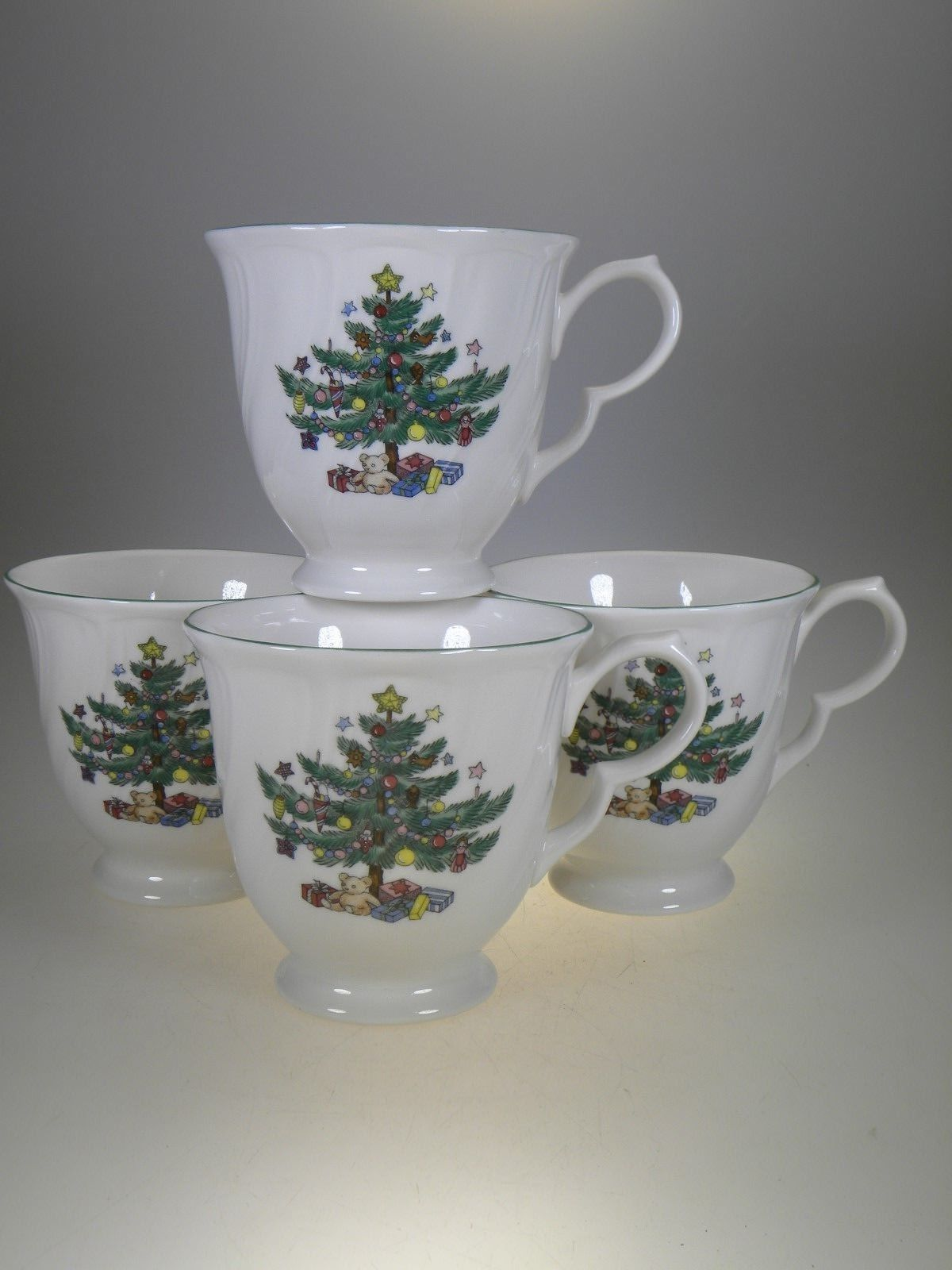 Nikko Happy Holiday Footed Coffee Mugs Set of 4