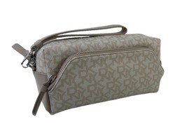 DKNY Logo Donna Karen Wristlet Cosmetics Make Up Bag Travel Case Tan $13... - $74.24