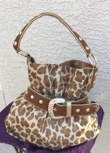 Large Kathy Van Zeeland Tan Brown Gold Cheetah Leopard Print Handbag Tote Purse