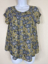 LOFT Outlet Womens Size XSP Yellow Paisley Blouse Short Sleeve - $14.85