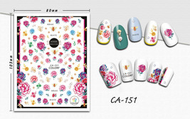 Nail art 3D stickers decal blue pink yellow flowers CA151 - $3.09