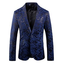 2018 autumn coats British Style printing Classic blue Blazers Men Slim F... - $91.60