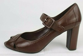 Nine West hey dude Mary Jane heel shoes brown leather upper size 9M - $23.01